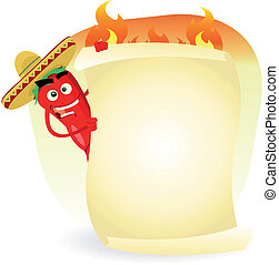 Mexican Food Restaurant Spice Banner - Illustration of a...