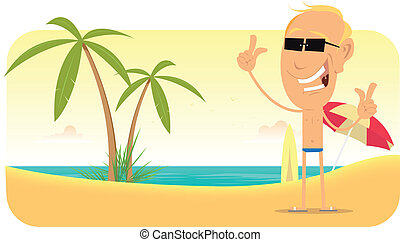 Summer Beach Vacations Banner - Illustration of a summer...