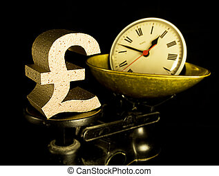 time is money, a gold pound sign and a clock on scales