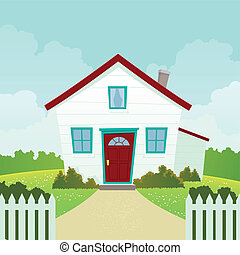 House - Illustration of a cartoon house in spring or summer...