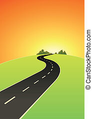 Road To The Top - Illustration of a cartoon road going...