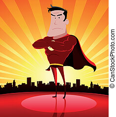Super Hero In The City - Illustration of a cartoon super...