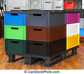 Colour crates pallet - Color plastic crates and boxes at...