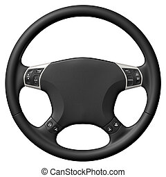 Steering Wheel - 3D rendered steering wheel on white...