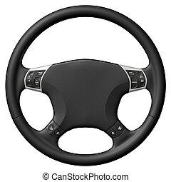 Steering Wheel - 3D rendered steering wheel on white...