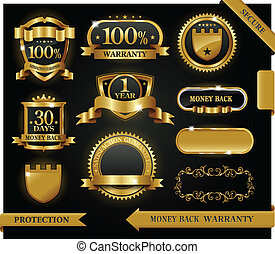 Vector 100 satisfaction guaranteed label and protection sign...