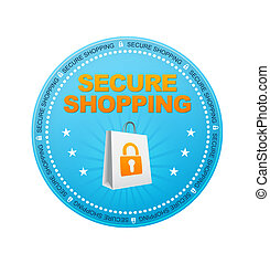 Secure Shopping - Blue Secure Shopping Button on white...