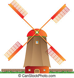 Cartoon windmill vector illustratio - Cartoon windmill...