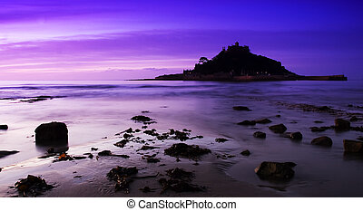 Purple St Michaels Mount - St Michaels Mount purple sunset