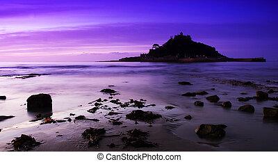 Purple St Michaels Mount - St Michaels Mount purple sunset
