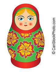 Russian souvenir - The isolated nested doll on a white...