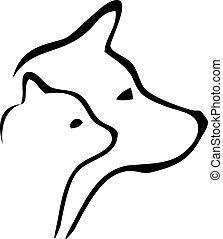 gato, perro, Cabezas, logotipo