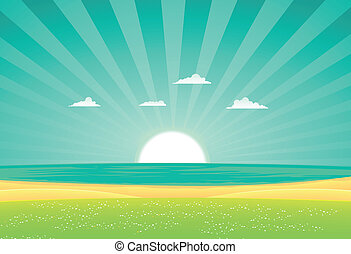 Beach Beyond The Fields - Illustration of a cartoon beach...
