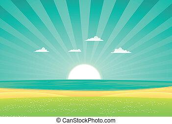 Beach Beyond The Fields - Illustration of a cartoon beach...