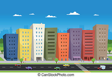 Cityscape - Illustration of a cartoon downtown scene with...