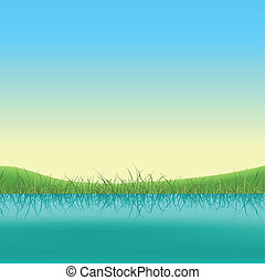 Spring Lake Banner - Illustration of a spring or summer lake...