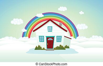 House In The Clouds With Rainbow - Illustration of a cartoon...