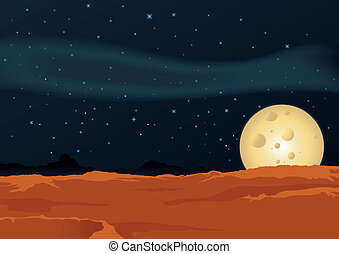Lunar Desert Landscape - Illustration of a desert lunar...