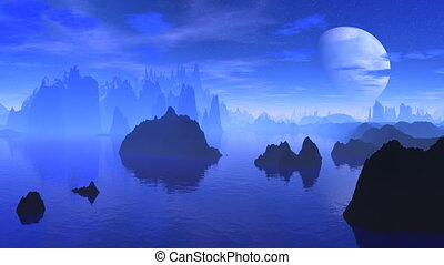 Fantastic planet and the big moon - Dark rocks among water...