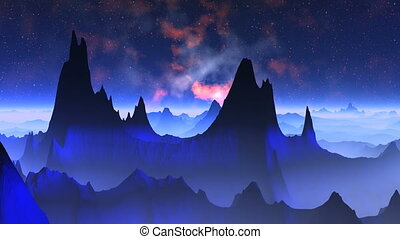 Nebula against a fantastic landscap - Dark blue mountains...