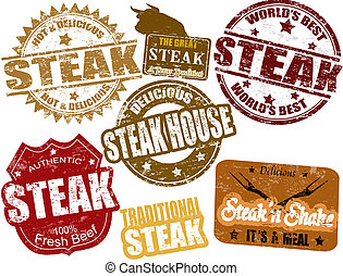 Steak stamps - Set of grunge rubber stamps with the word...