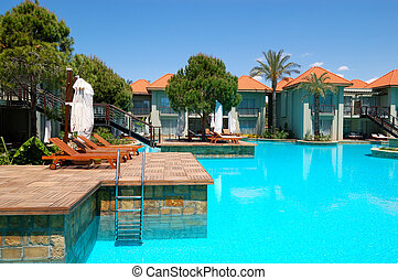 Luxury villas and swimming pool at popular hotel, Antalya,...