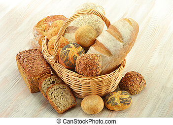 Composition with bread and rolls