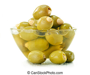 Small glass dish with pickled olives isolated on white
