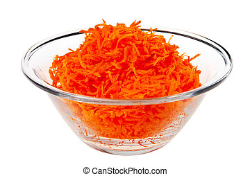 Carrot salad in glass bowl isolated over white background.