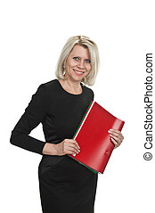 Portrait of a mature business woman with documents in hand...