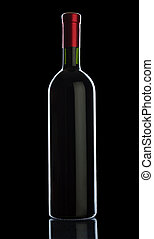 bottle of wine isolated on black