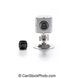 Surveillance Camera - Silver isolated video surveillance...