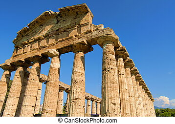 details of temples in paestum salerno, italy