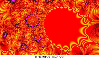 Abstraction - gold on red - The gold abstraction floats on a...