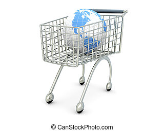 Global Shopping - 3D rendered Illustration