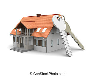 House and Keys - House and a pair of Keys. 3D rendered...
