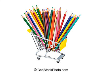 crayons in shopping cart - crayons many different colors in...
