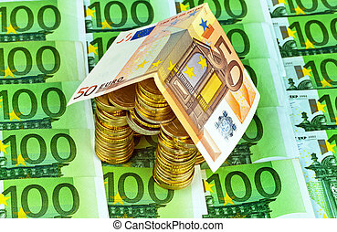 house from € coins from money - a house made of coins and...
