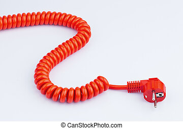 red power cable - a red power cable with a connector located...