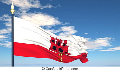 Flag Of Gibraltar on the background of the sky and flying...