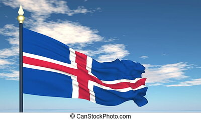 Flag Of Iceland on the background of the sky and flying...