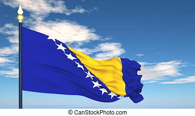 Flag Of Bosnia and Herzegovina on the background of the sky...