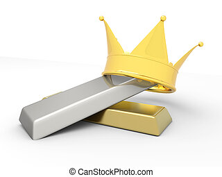 Royal commodities - A crown with gold and silver 3D rendered...