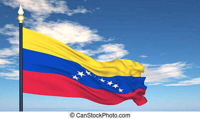 Flag Of Venezuela on the background of the sky and flying...