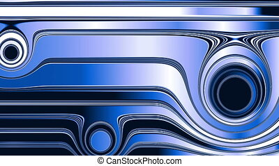 Blue abstraction - Blue, white and black rings float through...