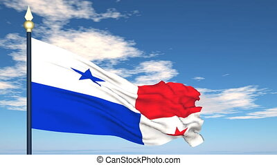 Flag Of Panama on the background of the sky and flying...