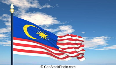 Flag Of Malaysia on the background of the sky and flying...