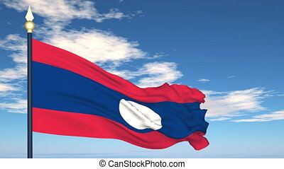 Flag Of Laos on the background of the sky and flying clouds