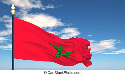 Flag Of Morocco on the background of the sky and flying...