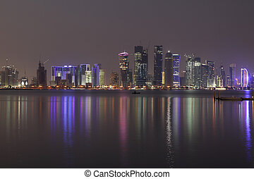 Doha City skyline at night, Qatar, Middle East